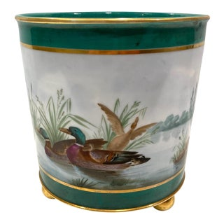 French Old Paris Porcelain Jardiniere With Ducks For Sale