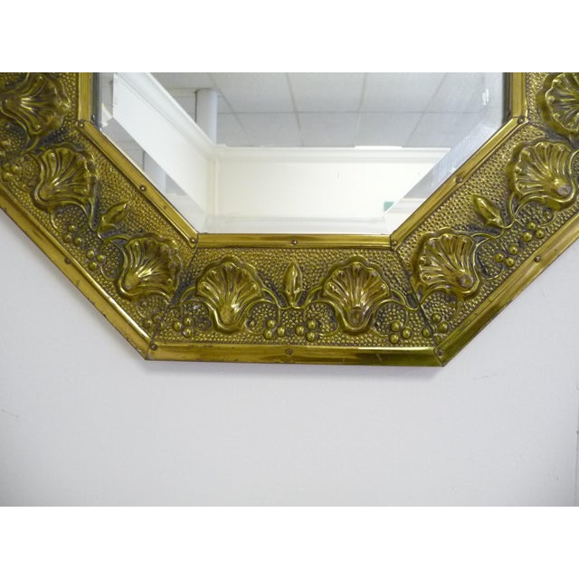 Brass Antique Repousse Shell Brass Beveled Wall Mirror For Sale - Image 7 of 8