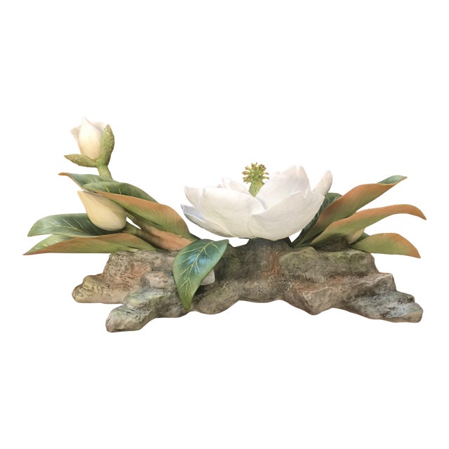 "Vintage Hand-Fashioned Boehm Porcelain Bisque Centerpiece ""Magnolia Grandiflora"" Signed by Helen Boehm For Sale"