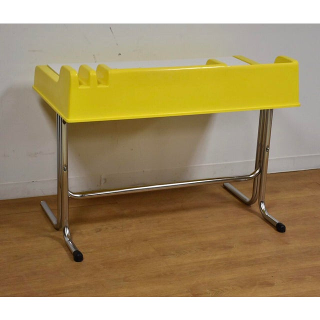 "Yellow Molded Plastic and Chrome ""Oryx"" Desk For Sale - Image 8 of 10"