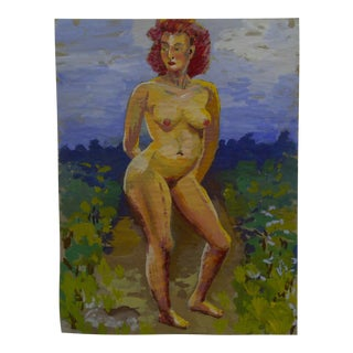 "Mid-Century Modern Original Painting on Paper, ""Outside Frontal Nude"" by Tom Sturges Jr"