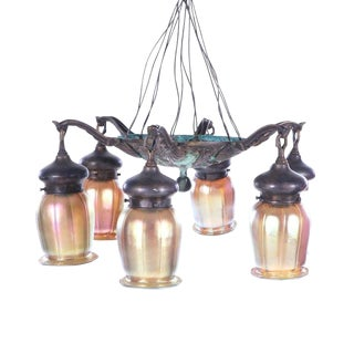 Early 20th Century Quezal Attributed Iridescent Glass Shades and Bronze Chandelier For Sale