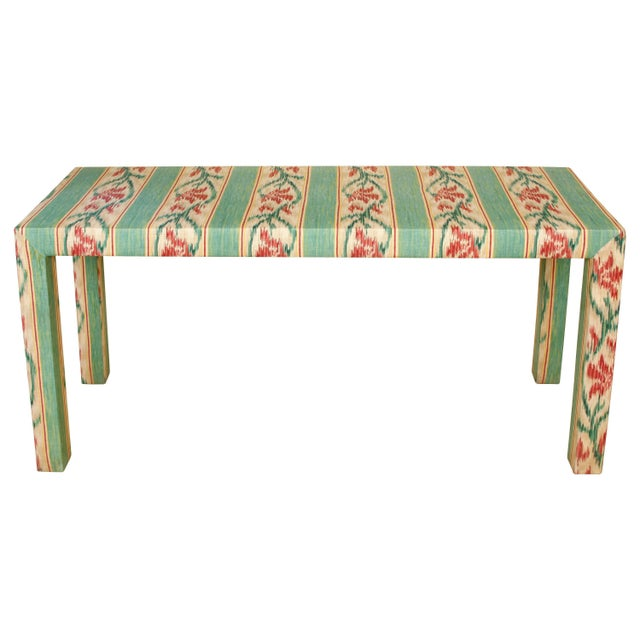 Mid 20th Century Custom Parsons Style Upholstered Console For Sale - Image 5 of 5