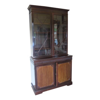 Antique John Barker Glass Paneled Wooden Cabinet For Sale