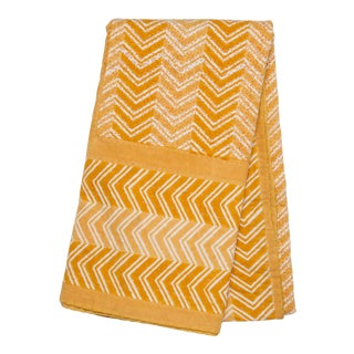 Chevron Hand Stitched Quilted Tablecloth, 6-seat table - Ocher For Sale