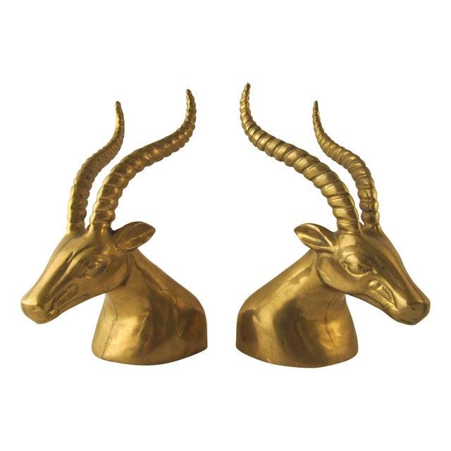 Brass Gazelle Head Bookends For Sale