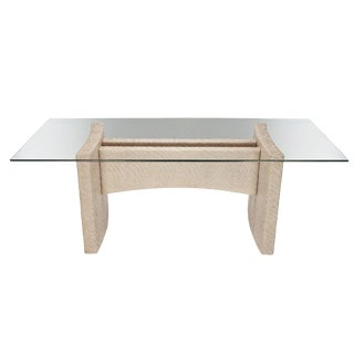 Boho Chic Riva Rect Dining Table Base in Salt For Sale