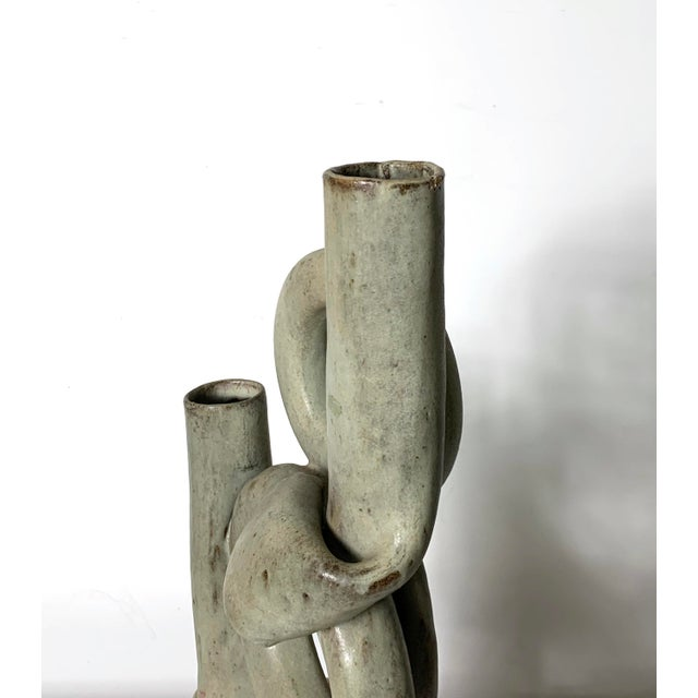 Ceramic 1970s Vintage Tubular Studio Pottery Signed Vase For Sale - Image 7 of 11