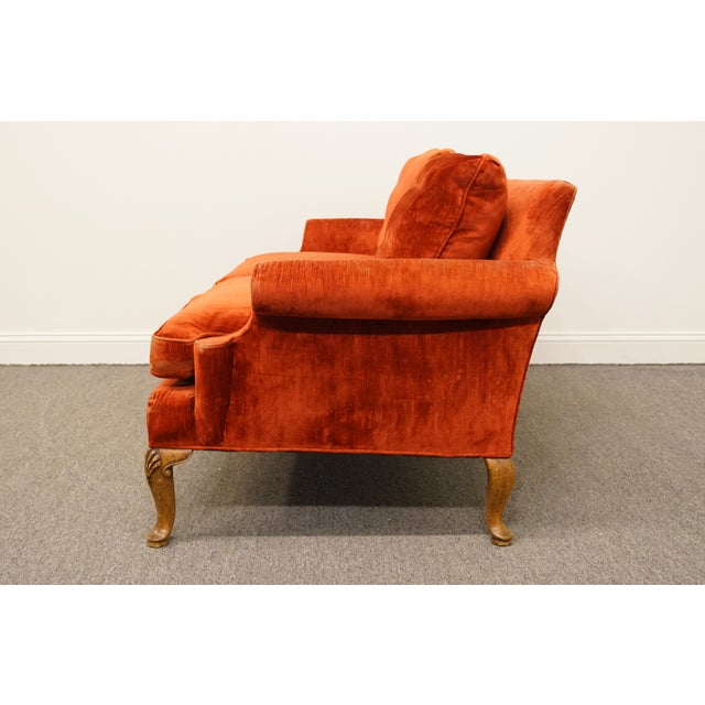 Textile Henredon Furniture Rust Red Upholstered Loveseat / Sofa For Sale - Image 7 of 10