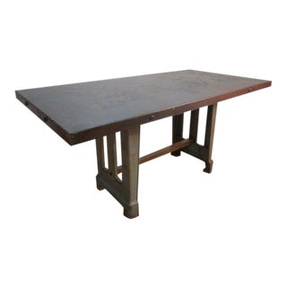 Large Antique French Industrial Steel Table For Sale