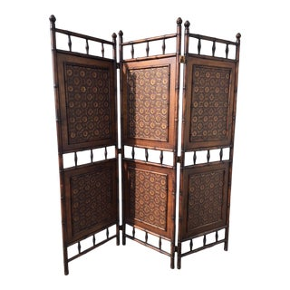 Arts and Crafts Victorian Faux Bamboo Tile Mosaic Room Divider Privacy Screen For Sale