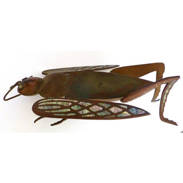 Mid-Century Modern Los Castillo Brass, Copper and Abalone Dish attributed to Salvador Teran For Sale - Image 3 of 10