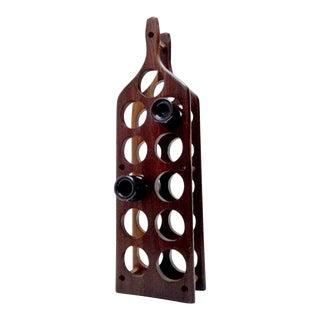 Wine Bottle Shaped Wine Rack Holder Exotic Cocobolo Don Shoemaker Mexico 1960s For Sale