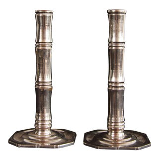 Mid Century Modern Chrome Plated Brass Faux Bamboo Candlesticks - a Pair For Sale