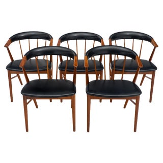 Danish Sibast No. 8 Spindle Back Dining Chairs - Set of 5 For Sale