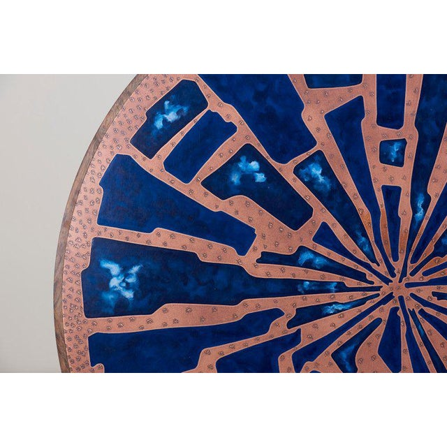 1970s Stunning Rare Wood Coffee Table With Copper and Enamel Top by Behr For Sale - Image 5 of 9