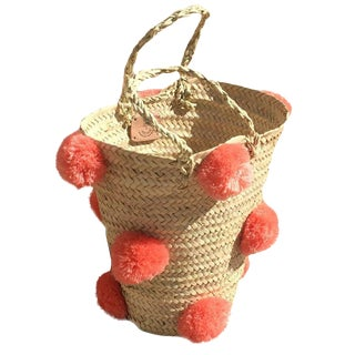 Moroccan Peach Pompom Basket For Sale