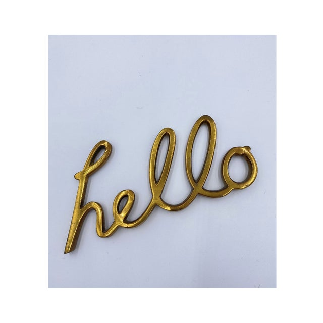 """Mid-Century Modern Solid Brass Word Cursive Art """"Hello"""" For Sale - Image 3 of 4"""