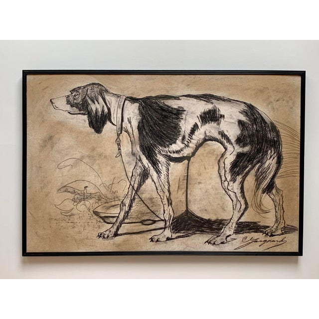 1950s Oversized Framed Original Charcoal Dog Portrait Drawing For Sale - Image 11 of 11