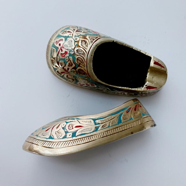 Metal Vintage Ca 1960s Indian Mini Shoe Shape Ashtray - 2 Pieces For Sale - Image 7 of 12