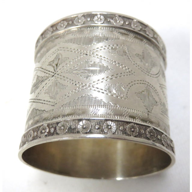 Silver 1870s Antique Sterling Silver Napkin Rings - a Pair For Sale - Image 8 of 13