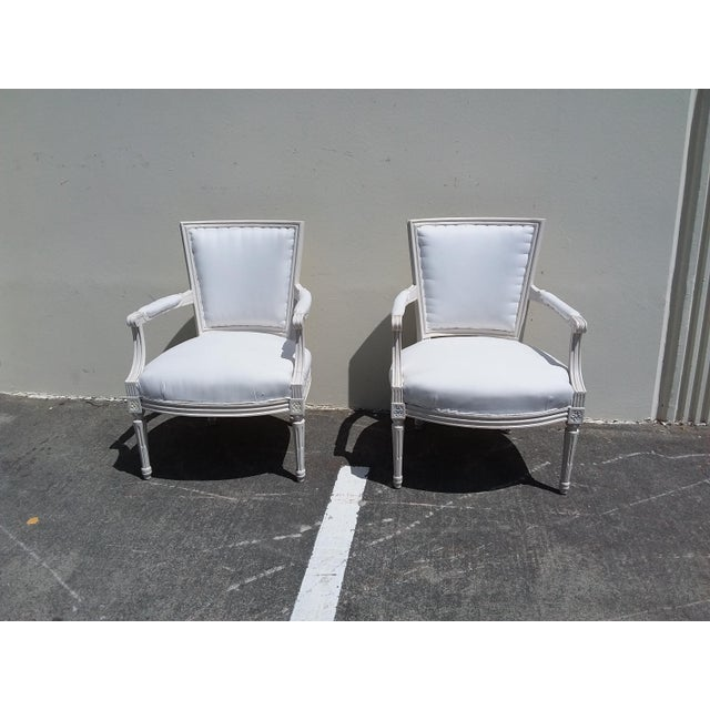 Wood French Style White Arm Chairs - A Pair For Sale - Image 7 of 11
