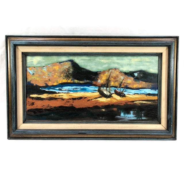 Canvas 1960s Oil on Canvas Ships on Shoreline Signed Carrie For Sale - Image 7 of 7