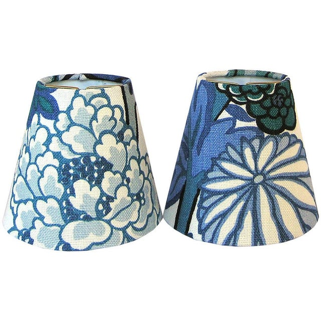 Asian Blue Floral Chinoiserie Sconce or Chandelier Shade Shade For Sale - Image 3 of 3