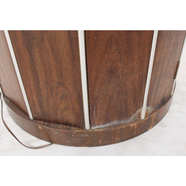 1950s Cylinder Shape Liquor Bar Cabinet Walnut For Sale - Image 5 of 5