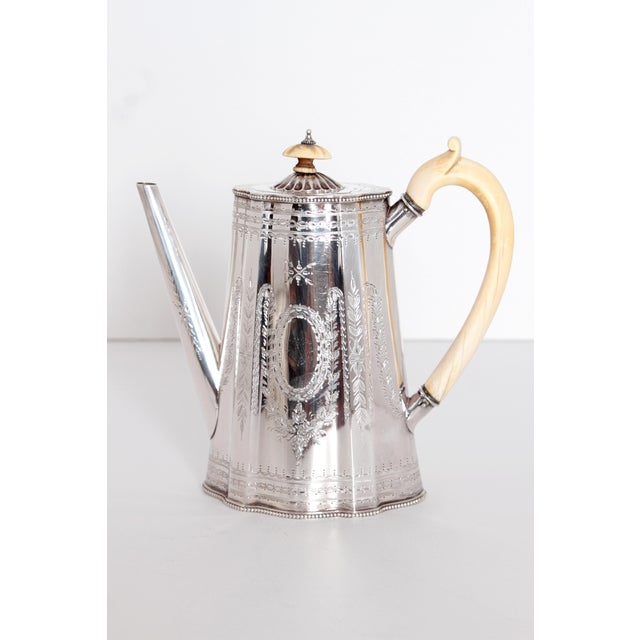 Traditional 19th Century English Sterling Silver 4 Piece Coffee and Tea Service For Sale - Image 3 of 12