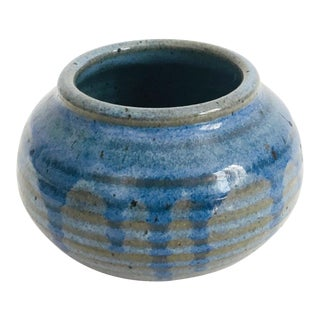 Vintage Small Blue Handmade Pottery Cache Pot For Sale