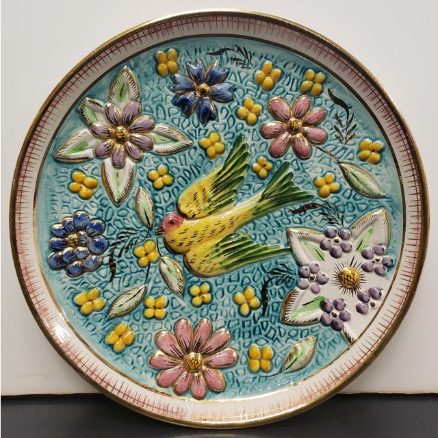 1940's Belgian Henri Bequet Majolica Pottery Raised Relief Bird/Floral Motifs Wall Plate For Sale - Image 4 of 4