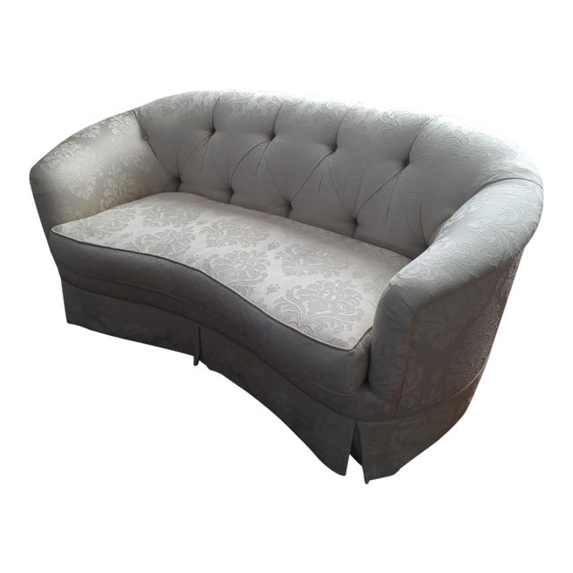 Damask Ivory Fabric Loveseat For Sale
