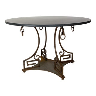 Circa 1970's Neoclassical Style Iron and Marble Table, American For Sale