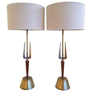 Atomic Walnut and Brass Table Lamps by Rembrandt - a Pair For Sale