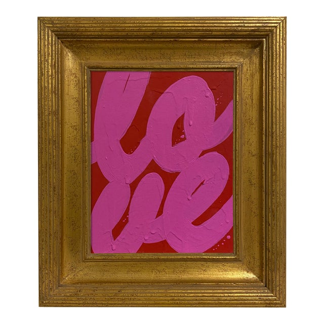 Ron Giusti Mini Love Red Hot Pink Painting, Framed For Sale