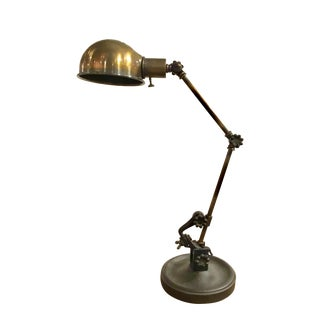 Modern Industrial Antique Brass Adjustable Desk Lamp For Sale