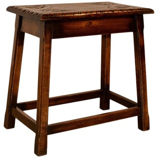 Oak Stool From England, Circa 1900 For Sale
