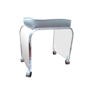 Mid Century Lucite Waterfall Vanity Stool For Sale