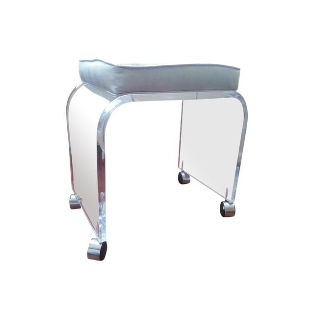 Mid Century Lucite Waterfall Vanity Stool - Image 1 of 11