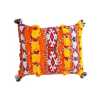 Moroccan Berber Pillow With Orange & Blues