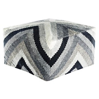 Jaipur Living Bergen Gray/ Black Geometric Square Pouf For Sale