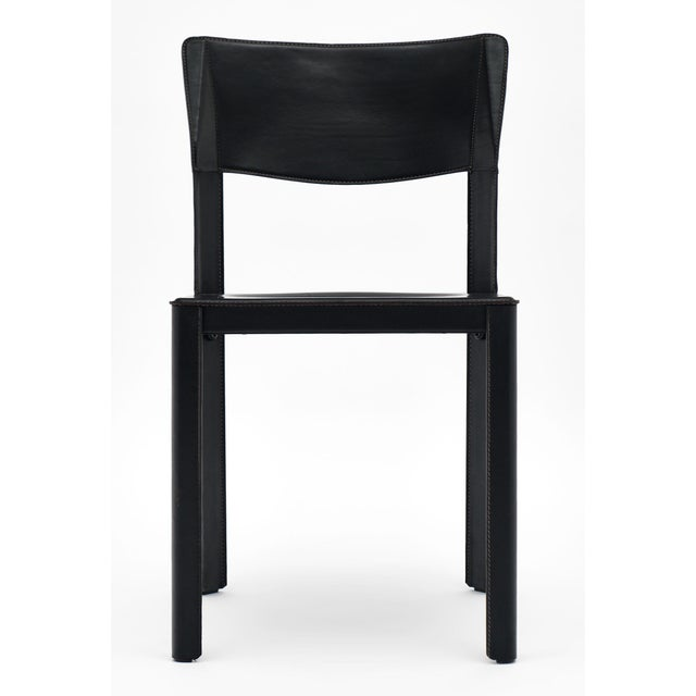 Vintage Black Leather Saporiti Chairs - Set of 4 For Sale In Austin - Image 6 of 10