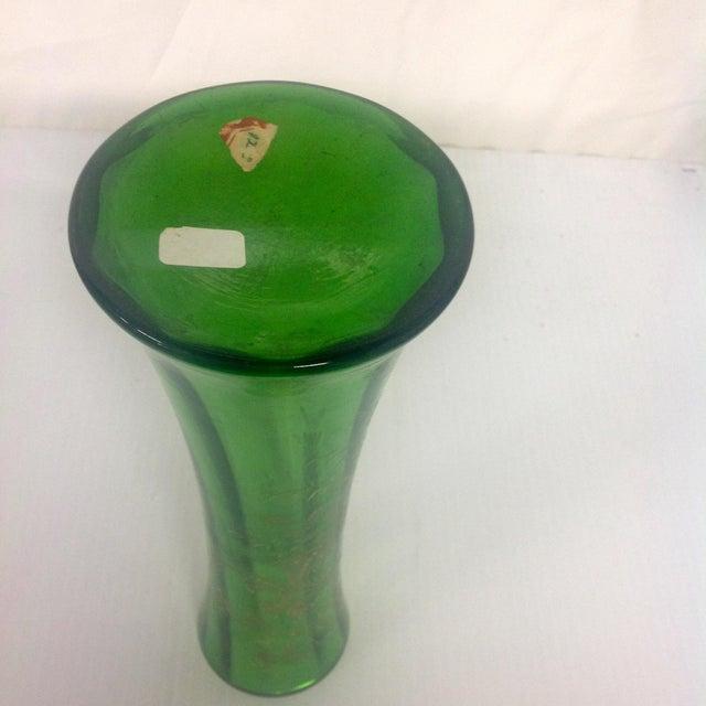 Signed Moser Fluted & Gilt Green Glass Vase - Image 3 of 4