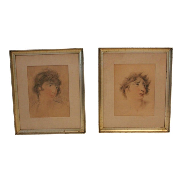 English Classical After Lawrence Portraits Paintings - Set of 2 For Sale