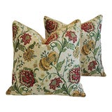 Image of Custom Tailored Scalamandre Floral Brocade Feather/Down Pillows - a Pair For Sale