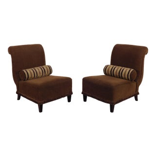 Barbara Barry for Baker Furniture Upholstered Slipper Chairs - a Pair For Sale