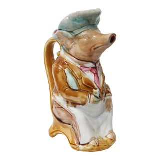 Antique French Onnaing Majolica Pig Pitcher