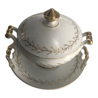 1960s Holiday Golden Laurel Lidded Cranberry Dish - a Pair For Sale