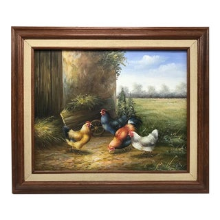 Vintage Mid-Century Farmhouse Chickens Painting For Sale
